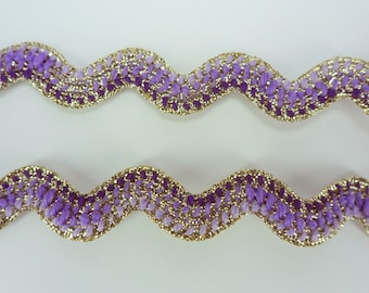 Violet Gold Metallic Rick Rack Ribbon Zig Zag Trim Ric Rac Sewing Tape Lace Craft 3 Yards