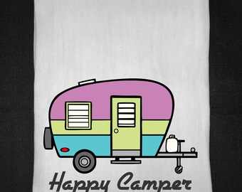 Happy Camper Flour Sack Tea Towel, Flour Sack Towel, Kitchen Towel, Gift, Tea Towel
