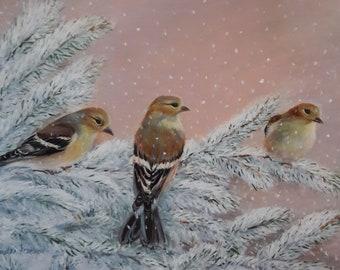 Three Gold Finches Original Country Living Landscape Fine Art by Venetka Arsenov