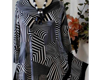 Asymmetrical Zebra Stripes latest Print Plus Size tunic top from medium To 3XL