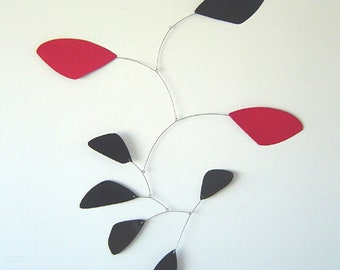 Black and Red Leaves Hanging Mobile - Funky Style