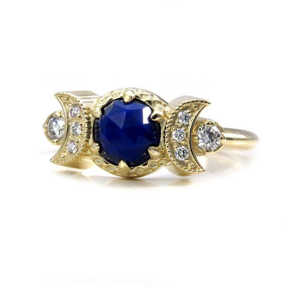Lapis Lazuli Engagement Ring with Diamond Crescent Moons - Bohemian Moon Phase Gold Ring
