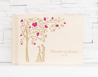 Laser Engraved Wedding Guest Book Memory Book Wooden Bride and Groom Names