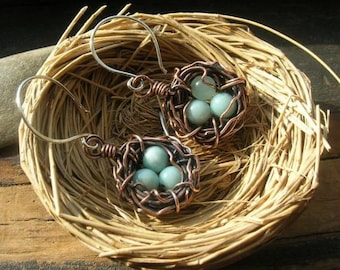 Rustic Nest earrings in copper Mother's Day