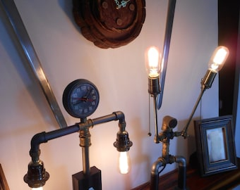 ROBOT LAMP / Robot clock desk / Steampunk Table lamp / Industrial lamp /  Bohemian lamp / Eclectic Lamp / Pipes and accesories