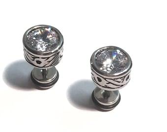 """""""Crown"""" Stud Earrings men's crystal clear steel."""