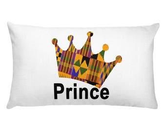 Rectangular Pillow, Kente Prince Crown - African print, Birthday, Graduation.