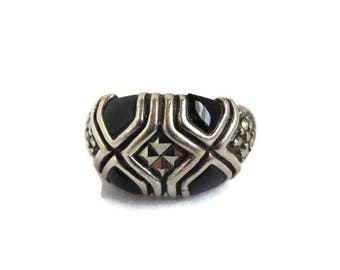 Vintage Onyx Ring, Sterling Silver Dome Ring, Black Onyx & Marcasite Ring, Statement Ring, Unique Ring, Gift For Her