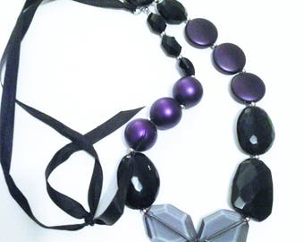Necklace - Purple necklace chunky funky purple plastic black and grey