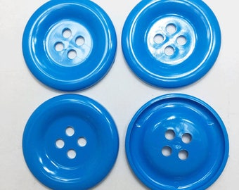 20 pcs of Large Four Hole Button - 50 mm or 2 inches- Sky Blue