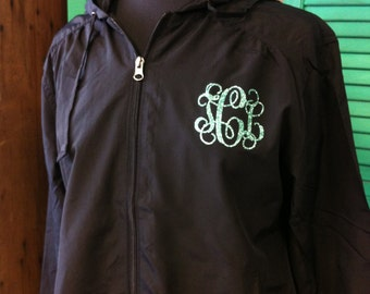 Glitter Vinyl Monogrammed Rain Jacket Personalized Rain Coat a1