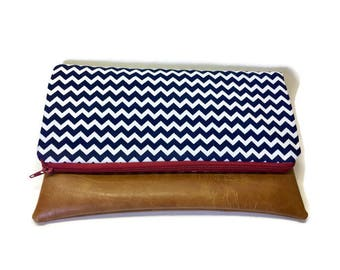 Navy & White Chevron Clutch