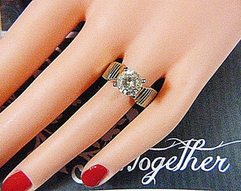 Vintage 10KT Gold Electroplate Solitaire Ring -- Size 8.25 - R-310 - Solitaire Ring - 10KT Solitaire Ring - 10KT Gold Solitaire Ring