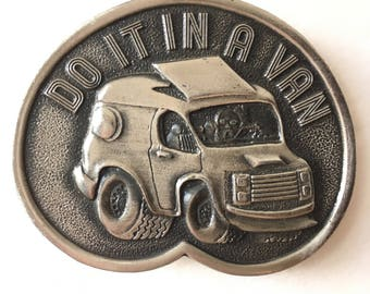 1970s Belt Buckle - Vintage Belt Buckle - Bergamot Brass Works - Do It In A Van - Vintage 1970s Van Buckle - Collectible Belt Buckle