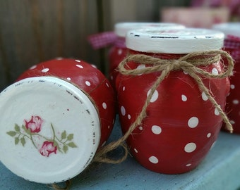 Glass Jars Set of 2 Red White Polka Dots Mary Engelbreit Inspired Shabby but Chic Rosebuds Decoupage Kitchen Home Office Decor Gift For Her