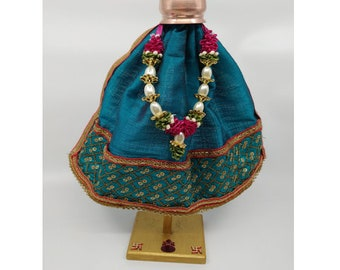 Turquoise Green with Golden Embroidery Gudi