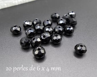 Abacus 6 black Austrian Crystal faceted glass beads 20 x 4 mm