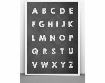 English Alphabet on a chalkboard poster print on paper or canvas (up to A0 size) Minimalist educational art for kids room and school decor