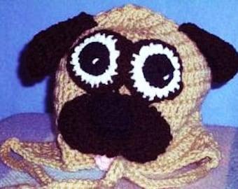 Pug Hat, Crocheted Pug Baby Hat, Dog Hat, Animal Hat, Crocheted Childs Hat, Toddler Pug Hat