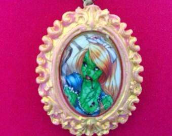 Alice in Wonderland Zombie Necklace, Zombie Pinup Necklace, Alice in Wonderland Cabochon