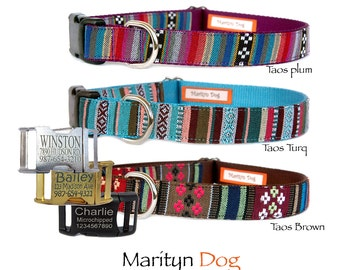 Dog collars Personalized dog collar Dog ID tag Engraved dog collar Aztec Tribal pet collar Boho Navajo embroidery dog collar Christmas