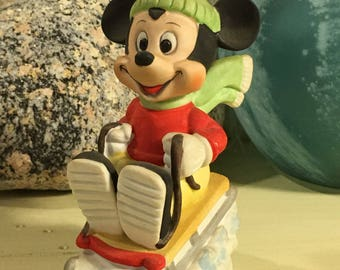 Walt Disney Productions MICKEY MOUSE Sledding Winter Christmas Vintage Ceramic Figurine Taiwan Republic Of China