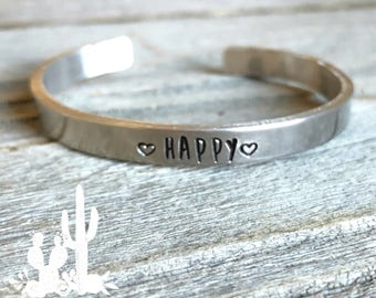 Personalized Bracelet Cuff - Intent - Intention - Word of the year - My word -   Focus Word - Mantra - Hand stamped - Cuff - Bangle - Custom