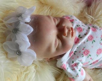 Newborn Baby barefoot baby sandals + headband, shoe/reborn baby dolls clothes reborn silicone doll
