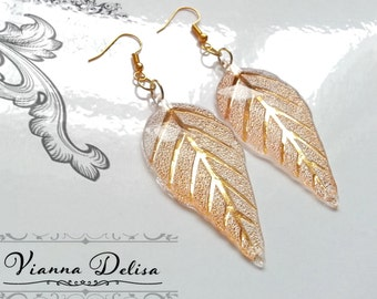 Leaf Earrings - Resin Earrings - 24k Gold leaf Earrings -  Acrylic Shine -  Gold Leaf Earrings - Gold plated - Bridal Earrings