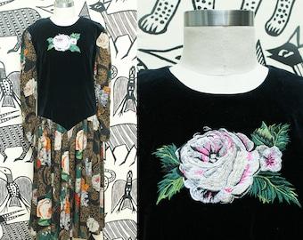Velvet Floral Boho Maxi Dress // 80s Donna Morgan Embroidered Bohemian Dress // Puffy Sleeve Gypsy Size Small Medium