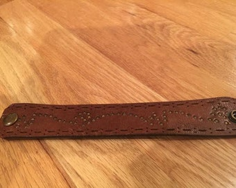 Brown Leather Belt Bracelet