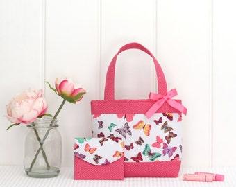 Mini Tote Bag & Purse / Girls Bag / Kids Bag / Wallet - Butterflies
