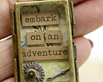 Brass Shadow Box Embark on an Adventure Pendant with 18 Inch Brass Chain