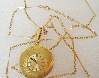 Vintage 1940 - 1950 Bucherer Swiss Round Pendant Watch Necklace; Gold 17 Jewel 29 Inch Chain/ Mid Century Fine Jewelry Accessories