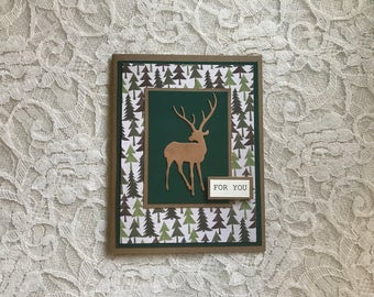 Handmade Greeting Card: masculine birthday, rustic, pines, deer, stag, elk, card for hunter, green and brown