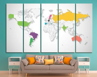 Extra large pinboard etsy extra large world travel map canvas push pin travel map colorful framed world map gumiabroncs Gallery