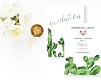 Palm Springs Wedding dinner invitation - Cactus Wedding Invitation - Wedding dinner Invitation - Cactus Invitation - Dinner Invitation