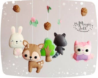 Baby mobile forest Nursery mobile woodland Animals baby mobile Crib mobile animals Baby girl mobile animals Nature baby mobile forest
