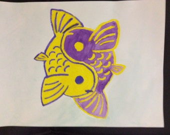 Purple & Yellow Yin-Yang Koi Fish Watercolor Painting