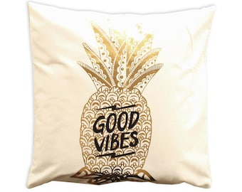 Canvas pillow. Decorative pillow. Printed pillow. cushion. Printed pillow cover. Accent throw pillow. Nature pillow covers. gold pinapple