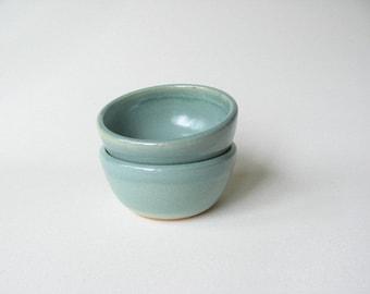 Prep Bowls Set of 2, Small Pottery Bowls, Condiment Bowls