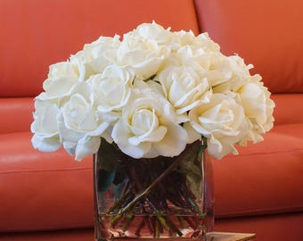 Very Large White Real Touch Rose Arrangement with Square Glass Vase Artificial Flowers Faux Arrangement for Home Decor Centerpiece