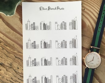 Black and White City Scape Bullet Journal / Planner Stickers