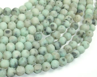 Matte Sesame Jasper Beads, Kiwi Jasper, Round, 6mm (6.5mm), 15 Inch, Full strand, Approx 60 beads, Hole 1mm (402054009)