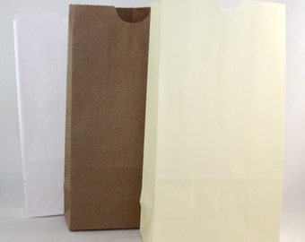 "Flat Bottom Paper Bags, 3 Color Choices, 4 1/4""x 2 3/8"" x 8"""