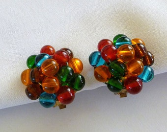 Small Glass Cluster Bead Earrings, Multi Colored Glass Earrings, Glass Bead Jewelry