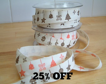 SALE 25% OFF - Woven Christmas Motifs Ribbon - Motifs - 20mm - 3 metre length - Cotton