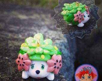 "Polymer clay Kawaii Shaymin charm, inspired by ""Pokemon"" series"