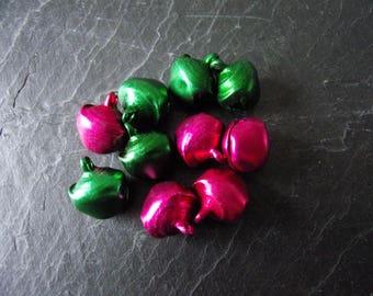 Set of 10 big bells bright green and fuchsia pink 13, 5x16mm