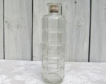 Tall Liquor Decanter, Glass Geometric Liquor Bottle, Corked Cylindrical glass decanter, Vodka Decanter, Wine Decanter, vintage Barware